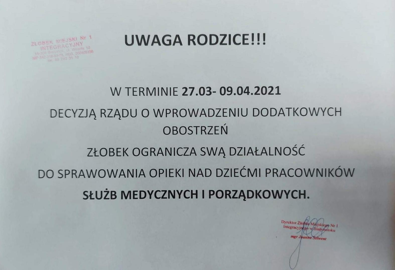 27.03-09.04 OGRANICZENIE DZIAŁALNOŚCI ŻŁOBKA!